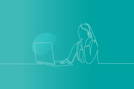 Sketch of person on their laptop