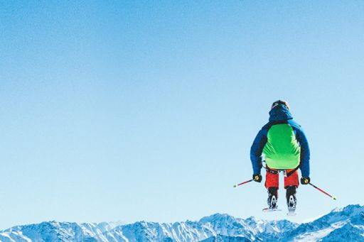 Man skiing in mid air