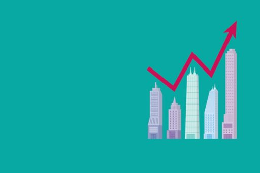 illustration of skyscrapers with a line graph above them