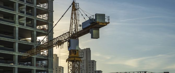 skyscrapers and construction site