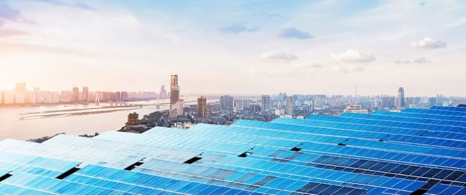 skyscrapers and solar panels