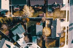 small houses aerial view