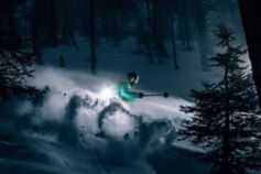 Snow skier at night