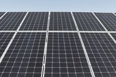 solar panels aerial view grey scale
