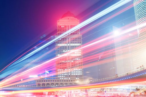 Speed of light on the modern building background in shanghai china.