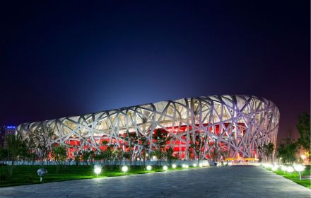 Stadium view with light on path