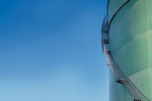 Stairs around the building with blue sky