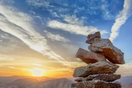 Stones with sunset background