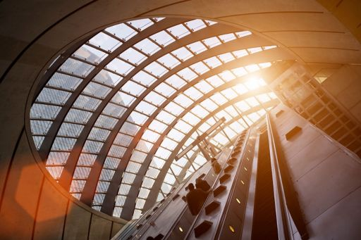 Sunlight coming from roof on escalator