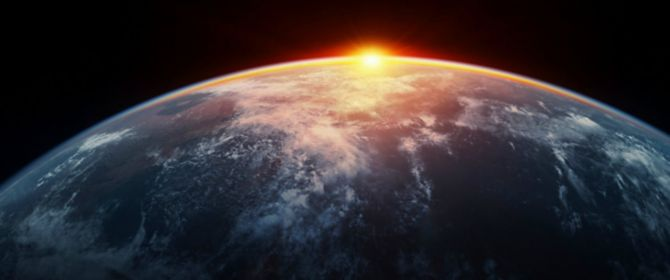 Sunset view of earth from space