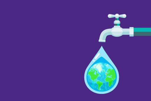 Illustration of tap with world globe in water droplet