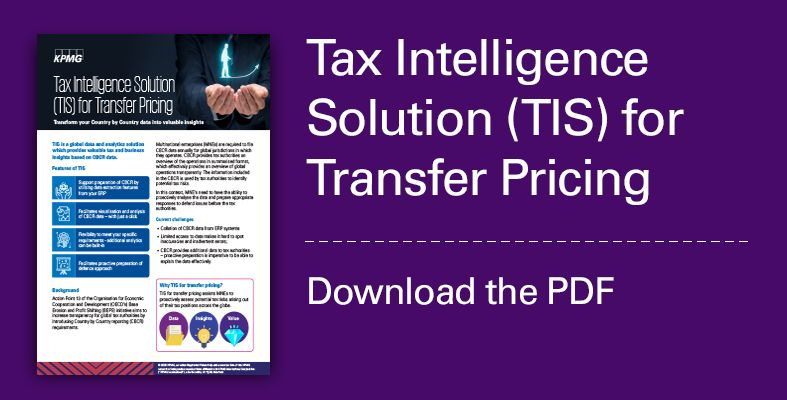 Tax Intelligence Solution for transfer pricing