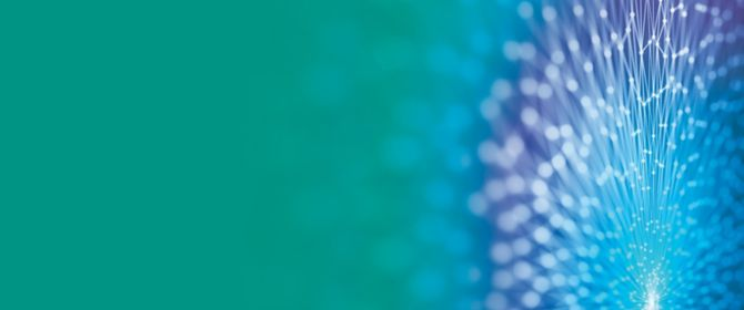 Blue digital lines forming a flower over green background