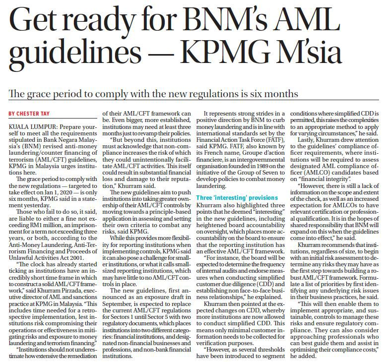 Get ready  for BNM's AML guidelines- KPMG M'sia