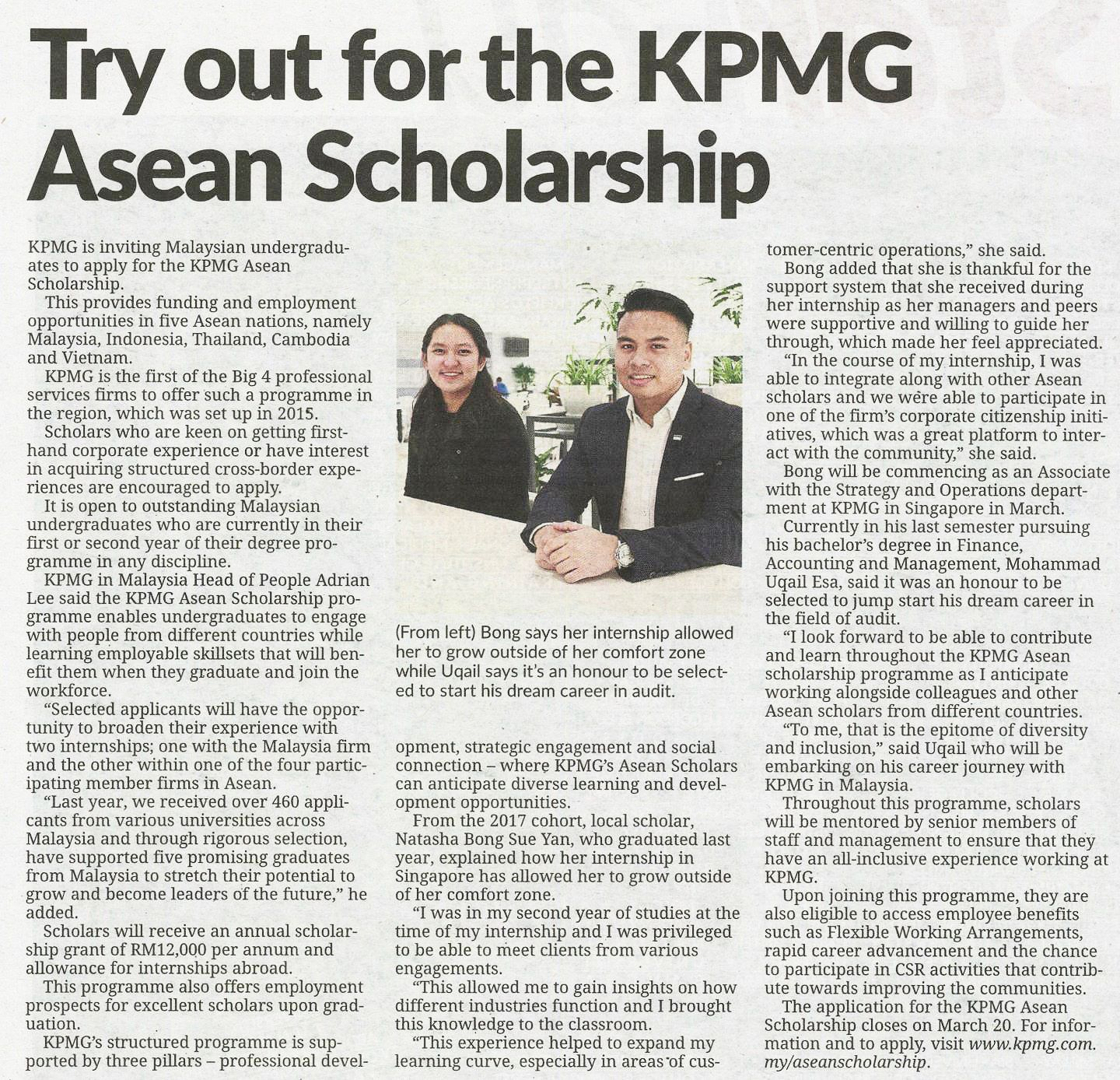 Try out for the KPMG Asean Scholarship
