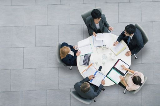 Top view business meeting