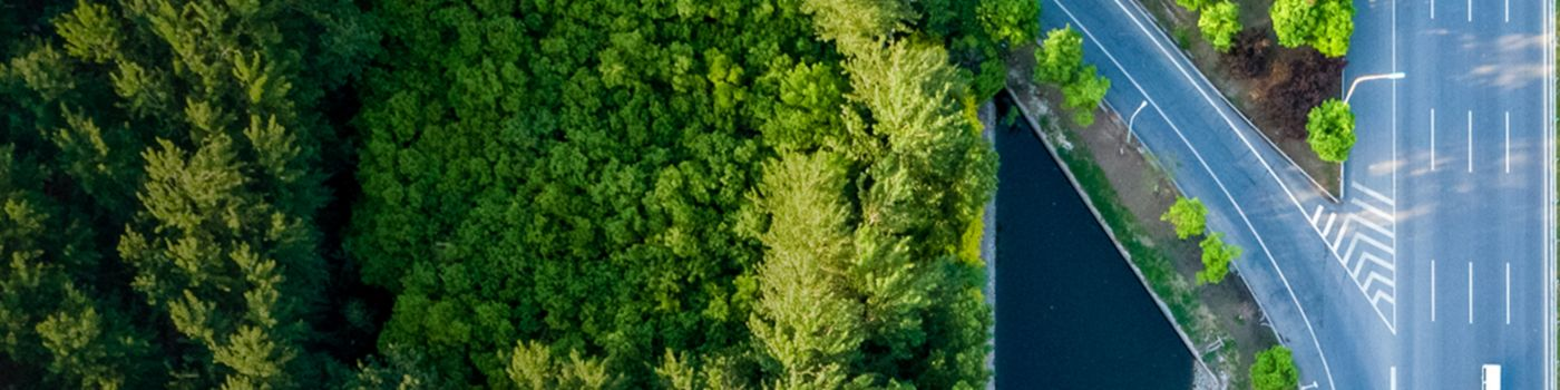 Aerial view of freeway amongst green trees and water