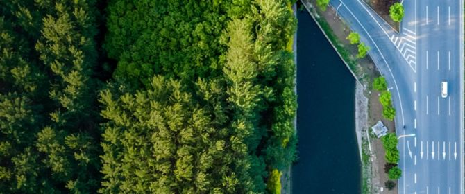 Five things borrowers should know about bank ring-fencing - Top view diverging roads beside green trees water