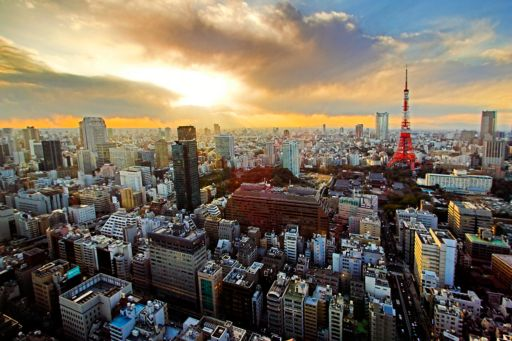 View of Tokyo skyline and Tokyo tower