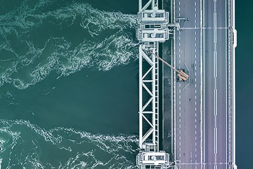 Top view of a bridge over sea
