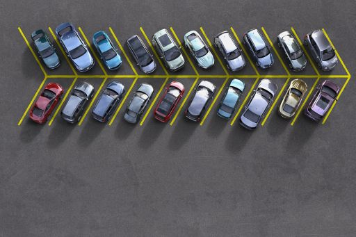 Top view of car parking in arrow style