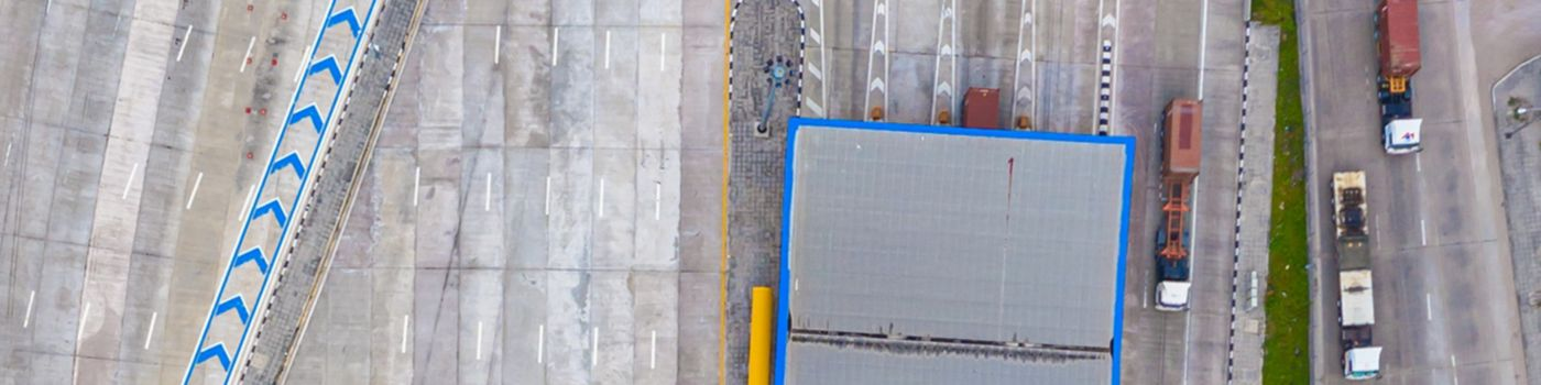 Top-view of highway road toll plaza