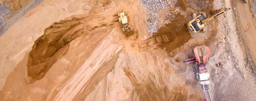 Top view of jcb machines at construction site