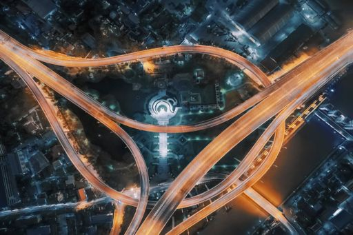 Topview of roads converging at night