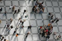 Aerial view of people walking in public space