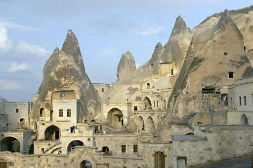 Cityscape of buildings made from a cave.