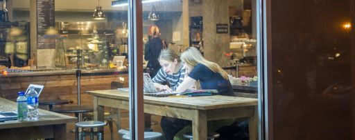 two-girls-working-on-laptop-in-coffee-cafe