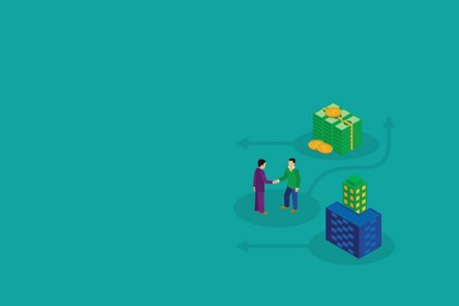 Two people shaking hands with money stacks and building illustration on cyan background