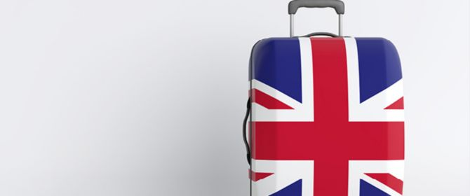 Suitcase with British flag
