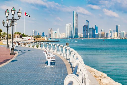 Cityline view across water of the Abu Dhabi building
