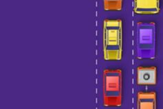 vehicles on a purple road