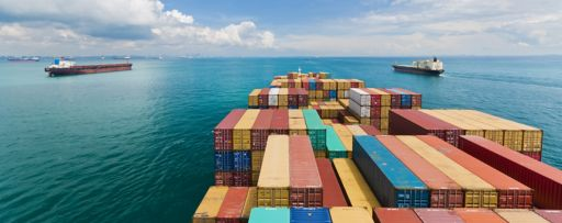 View from top of a cargo ship sailing in sea