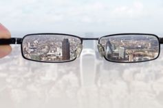 View of city from spectacles