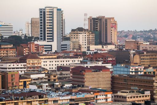 View of city with buildings and parked cars Uganda