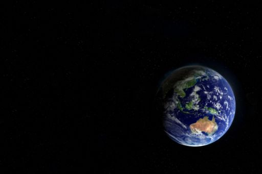 View of earth on a black background