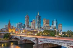 View from Yarra River of Melbourne city skyline at dusk