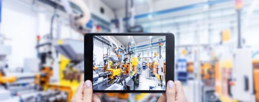 View of Robotic industry through tablet