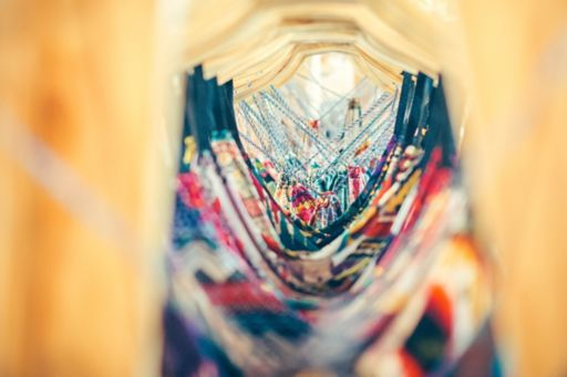 View through clothes on hangers