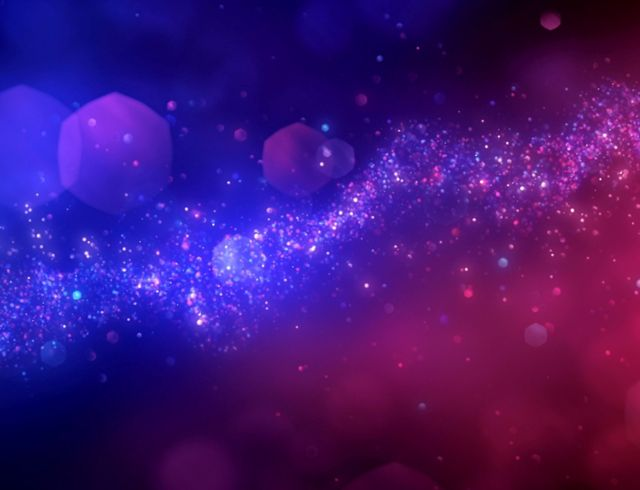pink and purple floating particles