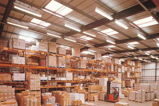 Boxes stored in a warehouse
