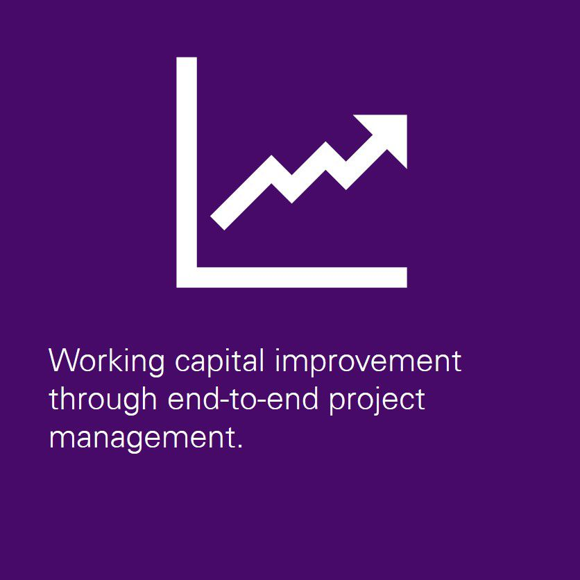Working capital improvement through end to end project management.