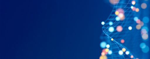 Web structure of colorful lights and dots on blue background