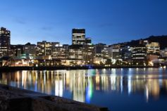 Wellington waterfront at night