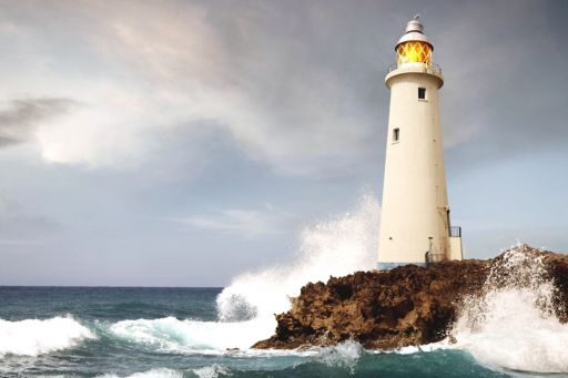 Lighthouse amidst storm