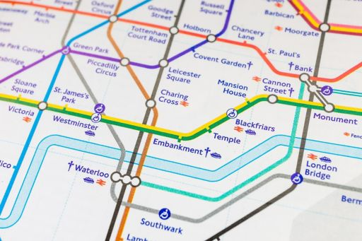 White map view separated by colorful lines