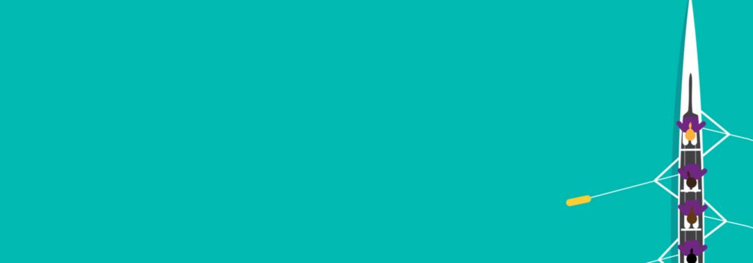 White rowing boat on teal background